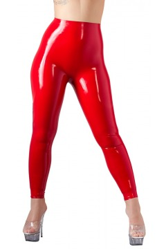 Leggings aus Latex, taillenhoch, rot